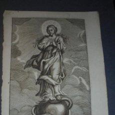 Arte: ANTIGUO GRABADO - LA PURISIMA , S. XVIII - PAUNER FET. - 20,5X15 CM. . Lote 71534815