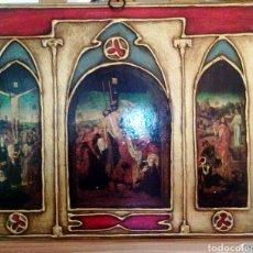 Arte: ANTIGUO TRIPTICO RELIGIOSO SOBRE TABLA. POLICROMADO A MANO, PAN DE ORO. CRUCIFIXIÓN DE CRISTO.. Lote 71651021