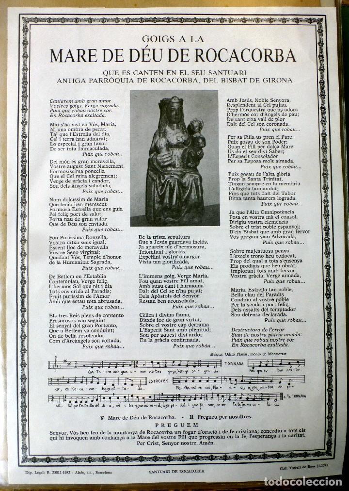 GOIGS A LA MARE DE DÉU DE ROCACORBA 1982 (Arte - Arte Religioso - Grabados)