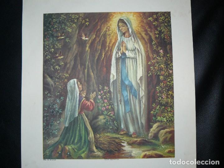 Arte: 4 LÁMINAS - VIRGEN DE LOURDES – VIRGEN Y EL NIÑO – SAGRADA FAMILIA – SAN PANCRACIO - ATRIB FERRANDIZ - Foto 2 - 71758923