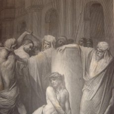 Arte: GRABADO RELIGIOSO, JESÚS AZOTADO, DORÉ-PANNEMAKER-DOMS,ORIGINAL, BARCELONA,1884,GRAN TAMAÑO. Lote 71841775