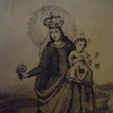 Arte: 1824 ANTIGUO GRABADO ORIGINAL IMAGEN DE LA VIRGEN DEL CARMEN CON NIÑO JESUS . Lote 72104403