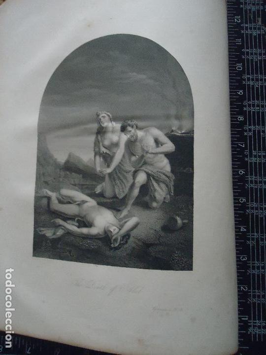 31X24 CM - GENESIS - GRABADO RELIGIOSO ORIGINAL SIGLO XIX - ASESINATO ABEL . ADAN Y EVA (Arte - Arte Religioso - Grabados)