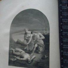 Arte: 31X24 CM - GENESIS - GRABADO RELIGIOSO ORIGINAL SIGLO XIX - ASESINATO ABEL . ADAN Y EVA . Lote 72287863