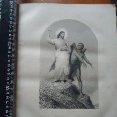 Arte: 31X24 CM - GENESIS - GRABADO RELIGIOSO ORIGINAL SIGLO XIX - EL DEMONIO DIABLO TIENTA A CRISTO, . Lote 72287999