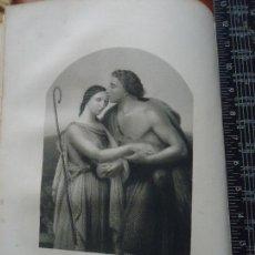 Arte: 31X24 CM - GENESIS - GRABADO RELIGIOSO ORIGINAL SIGLO XIX - JACOB Y RAQUEL . Lote 72288471