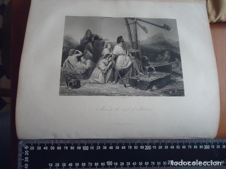 31X24 CM - GENESIS - GRABADO RELIGIOSO ORIGINAL SIGLO XIX - MOISES EN LA TIERRA PROMETIDA (Arte - Arte Religioso - Grabados)