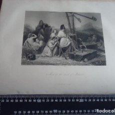 Arte: 31X24 CM - GENESIS - GRABADO RELIGIOSO ORIGINAL SIGLO XIX - MOISES EN LA TIERRA PROMETIDA. Lote 72288991
