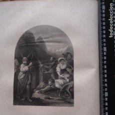 Arte: 31X24 CM - GENESIS - GRABADO RELIGIOSO ORIGINAL SIGLO XIX - MOISES HACE MANAR AGUA DE LA ROCA. Lote 72289395