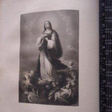 Arte: 31X24 CM - GENESIS - GRABADO RELIGIOSO ORIGINAL SIGLO XIX IMAGEN DE LA VIRGEN INMACULADA CONCEPCION. Lote 72289479