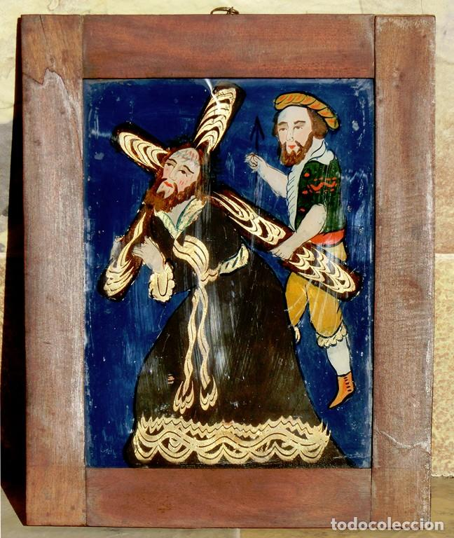 ANTIGUO CRISTAL RELIGIOSO PINTADO A MANO - JESÚS CON LA CRUZ A CUESTAS - ENMARCADO - ICONO - RARO (Arte - Arte Religioso - Pintura Religiosa - Otros)