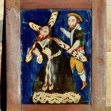 Arte: ANTIGUO CRISTAL RELIGIOSO PINTADO A MANO - JESÚS CON LA CRUZ A CUESTAS - ENMARCADO - ICONO - RARO. Lote 72335175