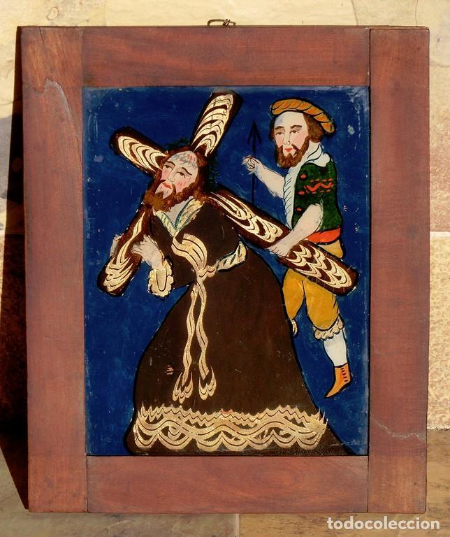 Arte: ANTIGUO CRISTAL RELIGIOSO PINTADO A MANO - JESÚS CON LA CRUZ A CUESTAS - ENMARCADO - ICONO - RARO - Foto 5 - 72335175