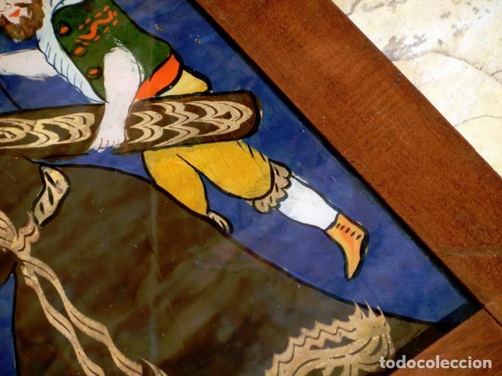 Arte: ANTIGUO CRISTAL RELIGIOSO PINTADO A MANO - JESÚS CON LA CRUZ A CUESTAS - ENMARCADO - ICONO - RARO - Foto 6 - 72335175