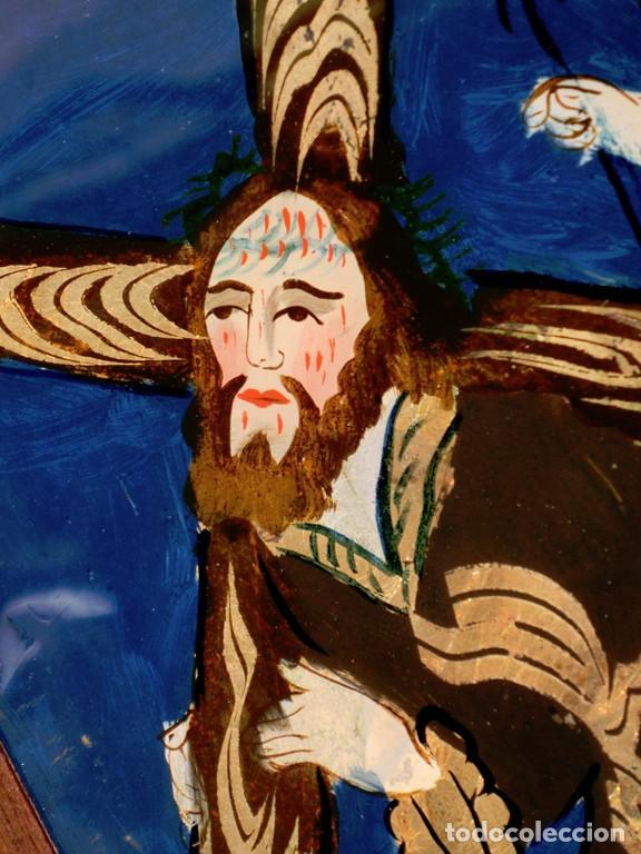 Arte: ANTIGUO CRISTAL RELIGIOSO PINTADO A MANO - JESÚS CON LA CRUZ A CUESTAS - ENMARCADO - ICONO - RARO - Foto 7 - 72335175