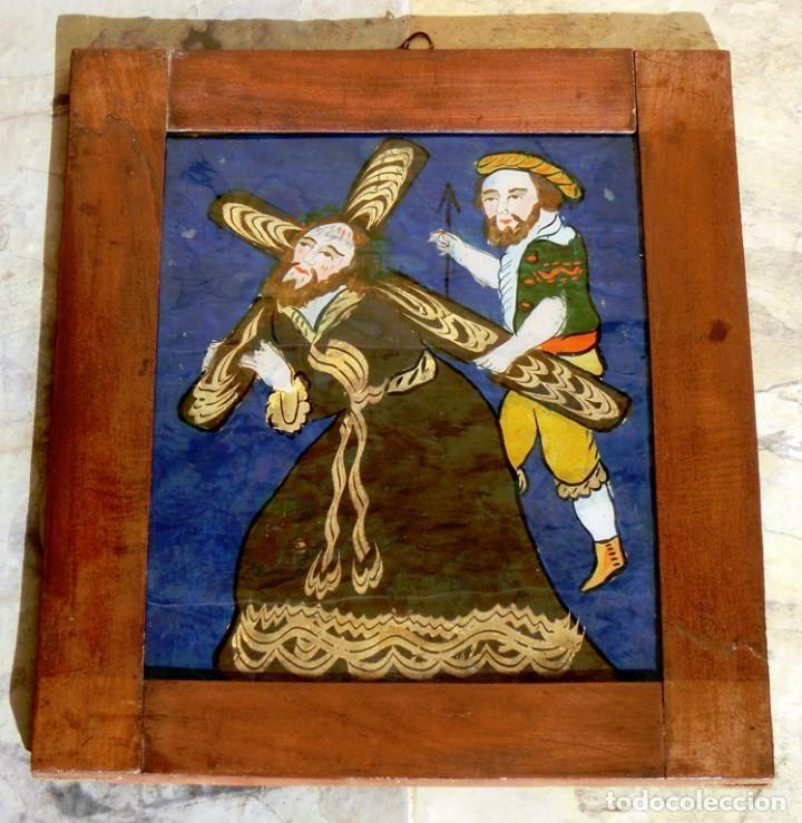 Arte: ANTIGUO CRISTAL RELIGIOSO PINTADO A MANO - JESÚS CON LA CRUZ A CUESTAS - ENMARCADO - ICONO - RARO - Foto 9 - 72335175