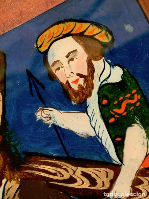 Arte: ANTIGUO CRISTAL RELIGIOSO PINTADO A MANO - JESÚS CON LA CRUZ A CUESTAS - ENMARCADO - ICONO - RARO - Foto 11 - 72335175