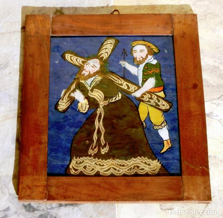 Arte: ANTIGUO CRISTAL RELIGIOSO PINTADO A MANO - JESÚS CON LA CRUZ A CUESTAS - ENMARCADO - ICONO - RARO - Foto 12 - 72335175