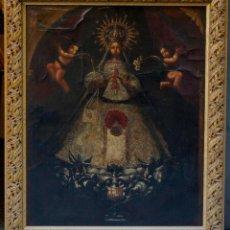 Arte: VIRGEN DE LA MERCED, PATRONA DE BARCELONA. ÓLEO SOBRE TELA, MARCO: 93X111CM.. Lote 72738663