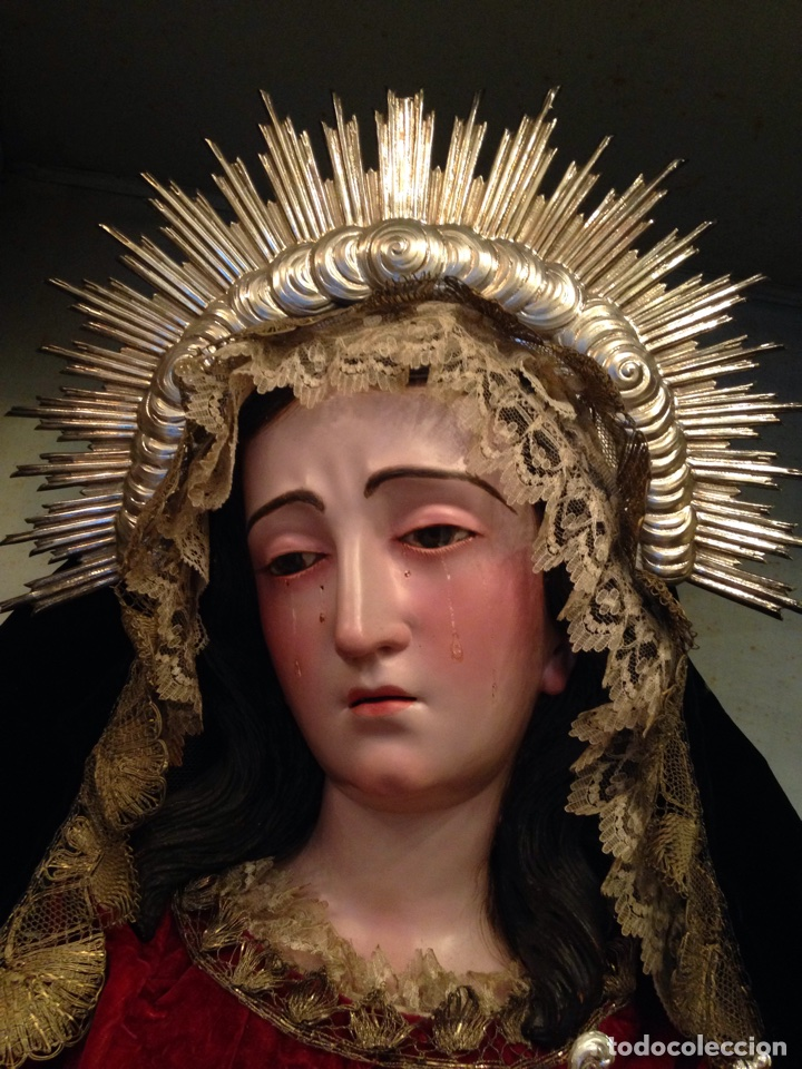 Arte: Virgen dolorosa del siglo XVIII, talla de madera, con urna-capilla - Foto 4 - 72739185