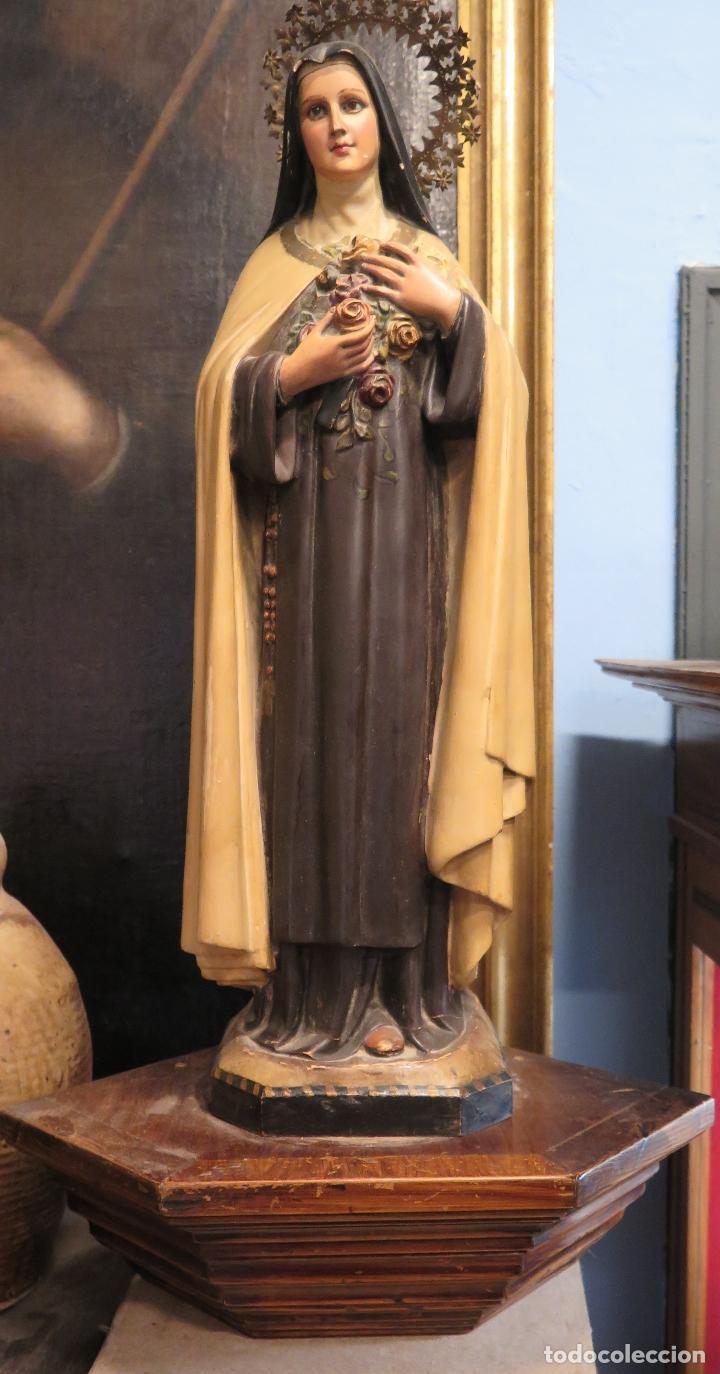 Arte: ANTIGUA Y PRECIOSA SANTA TERESITA DEL NIÑO JESUS DE OLOT. OJOS VIDRIO. CON MENSULA. - Foto 5 - 72872099