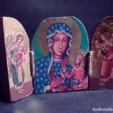 Arte: PEQUEÑO TRIPTICO RELIGIOSO EN MADERA TALLADA.. Lote 73570235