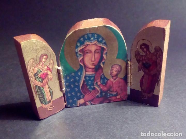 Arte: PEQUEÑO TRIPTICO RELIGIOSO EN MADERA TALLADA. - Foto 6 - 73570235