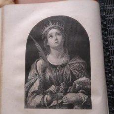 Arte: 31X24 CM - GENESIS - GRABADO RELIGIOSO ORIGINAL SIGLO XIX - REINA O PRINCESA MARTIR . PRAISE .... Lote 73862799