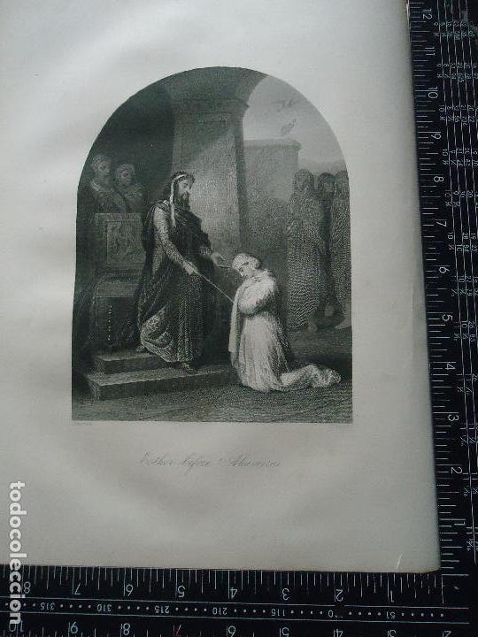 31X24 CM - GENESIS - GRABADO RELIGIOSO ORIGINAL SIGLO XIX - ESTHER BEFORE AHASUERUS - ROGER´S (Arte - Arte Religioso - Grabados)