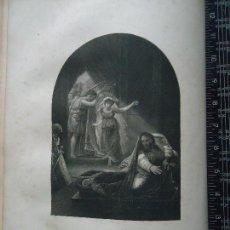 Arte: 31X24 CM - GENESIS - GRABADO RELIGIOSO ORIGINAL SIGLO XIX - DAVID JUGANDO CON SAUL . Lote 73863335