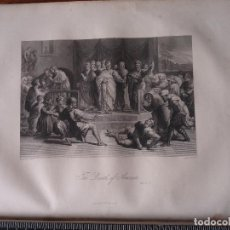 Arte: 31X24 CM - GENESIS - GRABADO RELIGIOSO ORIGINAL SIGLO XIX - THE DEATH OF ANANIAS MUERTE DE LAS ALMAS. Lote 73863783