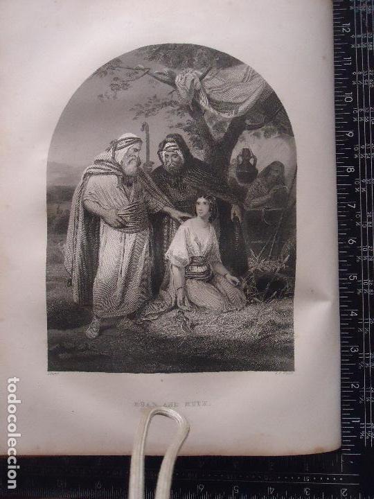 31X24 CM - GENESIS - GRABADO RELIGIOSO ORIGINAL SIGLO XIX - BOAZ Y RUTH (Arte - Arte Religioso - Grabados)