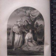 Arte: 31X24 CM - GENESIS - GRABADO RELIGIOSO ORIGINAL SIGLO XIX - BOAZ Y RUTH. Lote 73863839