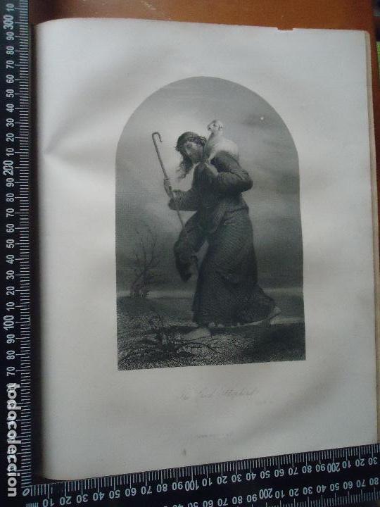 31X24 CM - GENESIS - GRABADO RELIGIOSO ORIGINAL SIGLO XIX - CRISTO BUEN PASTOR (Arte - Arte Religioso - Grabados)