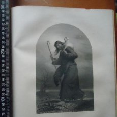 Arte: 31X24 CM - GENESIS - GRABADO RELIGIOSO ORIGINAL SIGLO XIX - CRISTO BUEN PASTOR . Lote 73864343