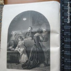 Arte: 31X24 CM - GENESIS - GRABADO RELIGIOSO ORIGINAL SIGLO XIX - FAMILY WORSHIP. Lote 73865107