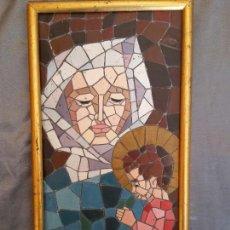Arte: MOSAICO VIRGEN CON NIÑO EN YESO AÑOS 70. Lote 73923163