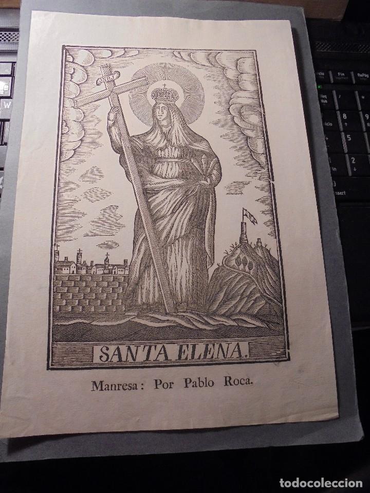 ANTIGUO GRABADO SANTA ELENA - MANRESA . POR PABLO ROCA . 31X20,5 CM. S.XIX (Arte - Arte Religioso - Grabados)