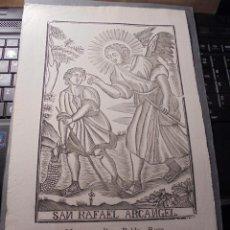 Arte: ANTIGUO GRABADO SAN RAFAEL ARCANGEL - MANRESA . POR PABLO ROCA . 31X20,5 CM. S.XIX . Lote 73999015