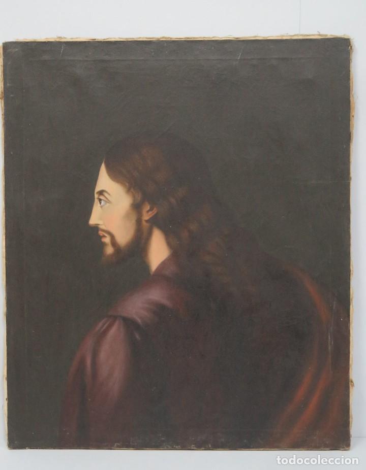 ANTIGUO Y PRECIOSO OLEO S/ LIENZO. JESUCRISTO. SIGLO XIX (Arte - Arte Religioso - Pintura Religiosa - Oleo)