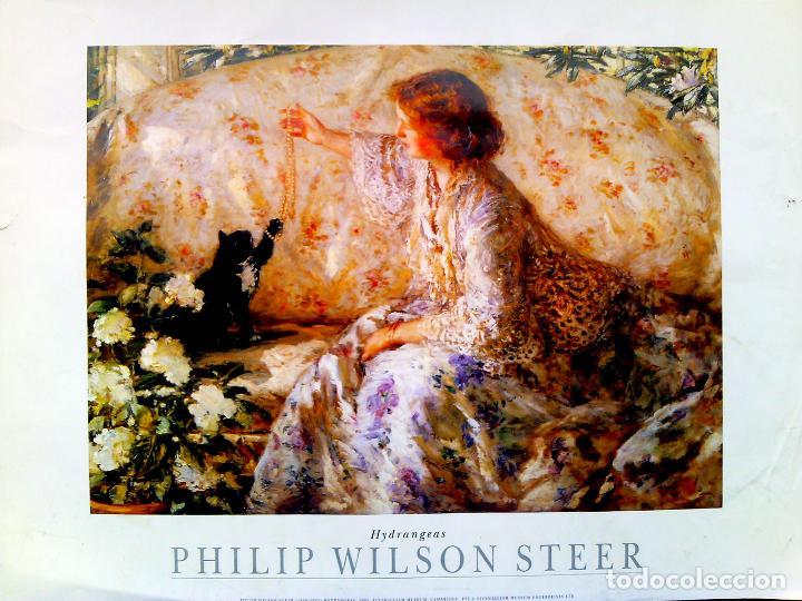 LAMINA LITOGRAFIA GRANDE DE - PHILIP WILSON STEER -HYDRANGEAS . MUSEO DE CAMBRIDCE.TAMAÑO 65X45 CMS (Arte - Arte Religioso - Litografías)