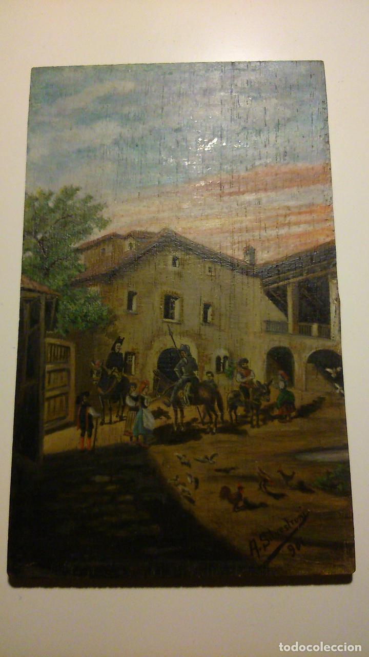 LO QUE SUCEDIÓ EN LA VENTA A TODA LA CUADRILLA DE DON QUIJOTE, OLEO SOBRE TABLA 1901. (Arte - Arte Religioso - Pintura Religiosa - Oleo)