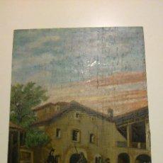 Arte: LO QUE SUCEDIÓ EN LA VENTA A TODA LA CUADRILLA DE DON QUIJOTE, OLEO SOBRE TABLA 1901.. Lote 144294165