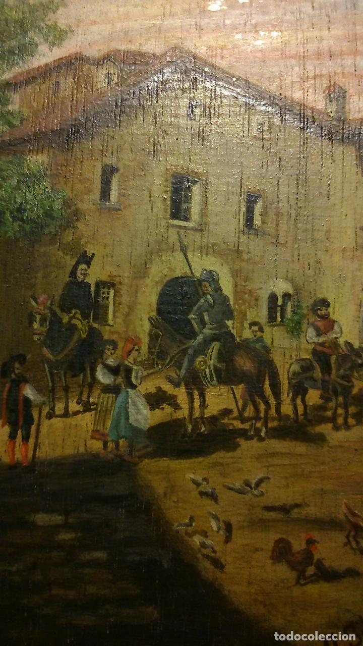 Arte: Lo que sucedió en la venta a toda la cuadrilla de don Quijote, oleo sobre tabla 1901. - Foto 2 - 144294165