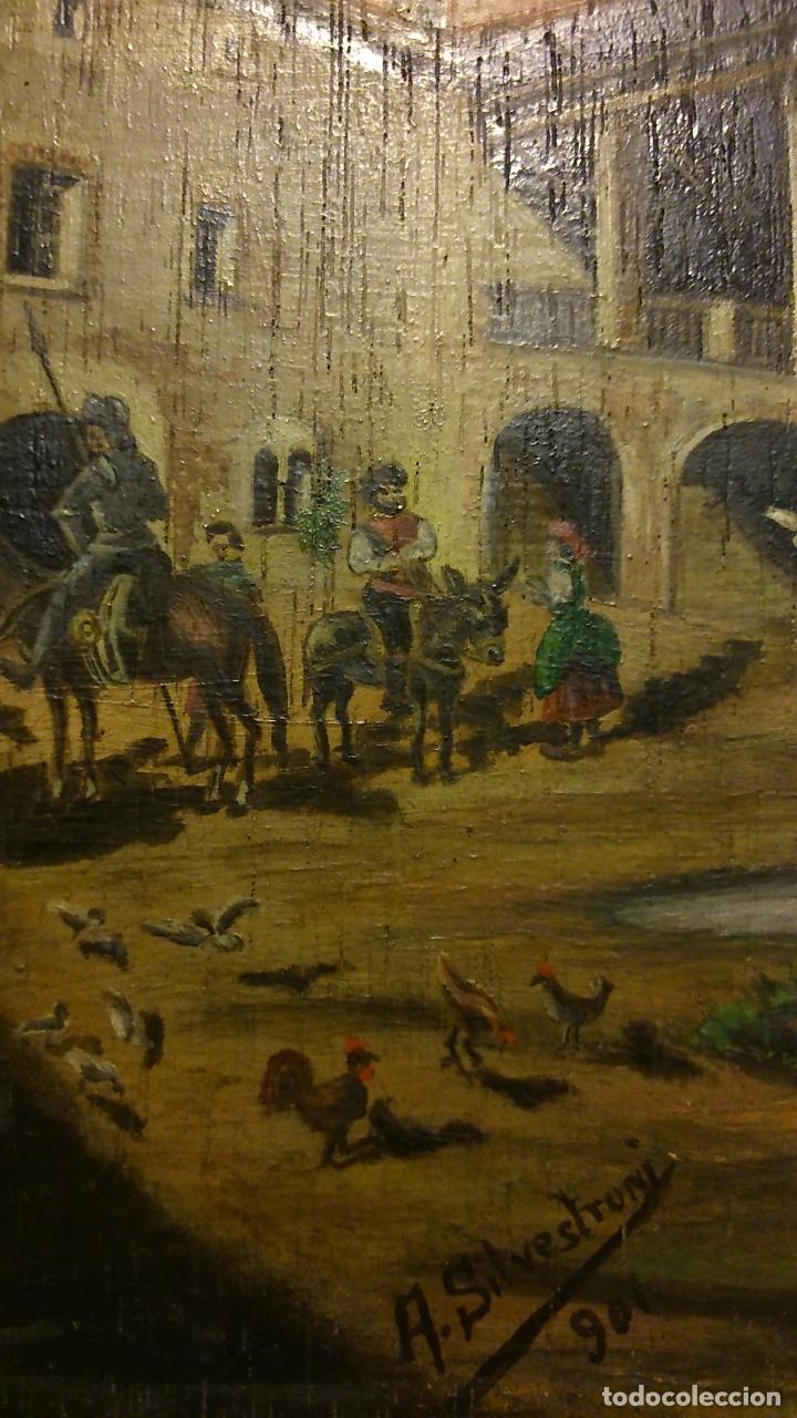 Arte: Lo que sucedió en la venta a toda la cuadrilla de don Quijote, oleo sobre tabla 1901. - Foto 3 - 144294165