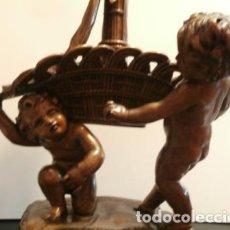 Arte: PAREJA DE QUERUBINES MADERA TALLADA. Lote 74365255
