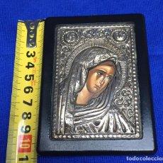 Arte: ICONO GRIEGO DE PLATA DE LEY 925 SOBRE MADERA IMAGEN DE LA VIRGEN. Lote 74404939