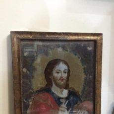 Cristo Salvador cristal pintado S.XVIII con marco dorado de época