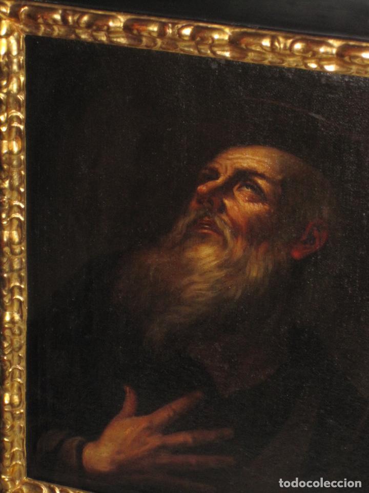 SANTO ERMITAÑO. SOBERBIA PINTURA AL OLEO DE ESCUELA ESPAÑOLA DEL SIGLO XVII. MARCO ORIGINAL DE ÉPOCA (Arte - Arte Religioso - Pintura Religiosa - Oleo)