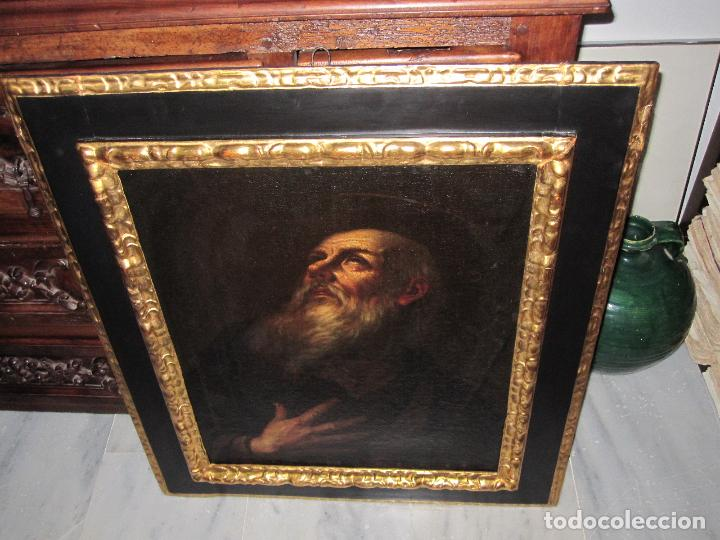 Arte: SANTO ERMITAÑO. SOBERBIA PINTURA AL OLEO DE ESCUELA ESPAÑOLA DEL SIGLO XVII. MARCO ORIGINAL DE ÉPOCA - Foto 2 - 74675543